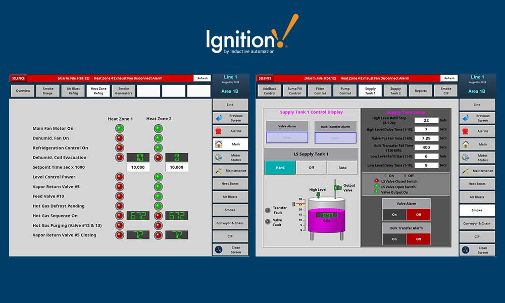 Screenshot of HMI software used as a central hub for process automation controls